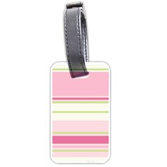 Turquoise Blue Damask Line Green Pink Red White Luggage Tags (One Side)