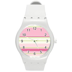 Turquoise Blue Damask Line Green Pink Red White Round Plastic Sport Watch (M)