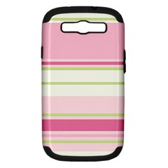 Turquoise Blue Damask Line Green Pink Red White Samsung Galaxy S III Hardshell Case (PC+Silicone)