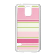 Turquoise Blue Damask Line Green Pink Red White Samsung Galaxy S5 Case (White)