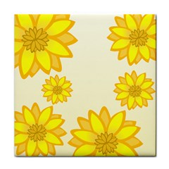 Sunflowers Flower Floral Yellow Tile Coasters