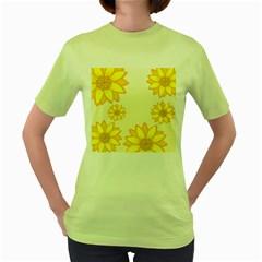 Sunflowers Flower Floral Yellow Women s Green T-Shirt