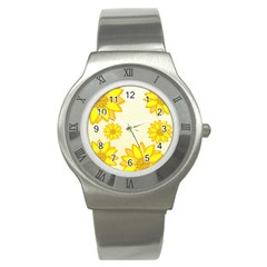 Sunflowers Flower Floral Yellow Stainless Steel Watch