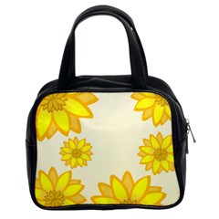 Sunflowers Flower Floral Yellow Classic Handbags (2 Sides)