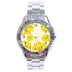 Sunflowers Flower Floral Yellow Stainless Steel Analogue Watch
