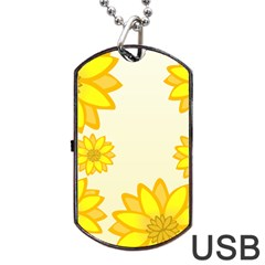 Sunflowers Flower Floral Yellow Dog Tag USB Flash (Two Sides)