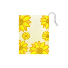 Sunflowers Flower Floral Yellow Drawstring Pouches (Small)