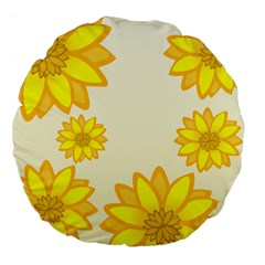 Sunflowers Flower Floral Yellow Large 18  Premium Flano Round Cushions