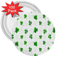 Leaf Green White 3  Buttons (100 pack)