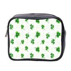 Leaf Green White Mini Toiletries Bag 2-Side