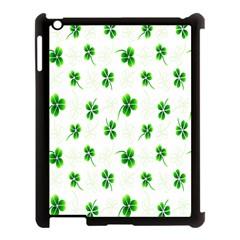 Leaf Green White Apple iPad 3/4 Case (Black)