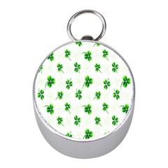 Leaf Green White Mini Silver Compasses