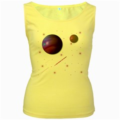 Space Transparent Purple Moon Star Women s Yellow Tank Top