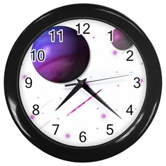 Space Transparent Purple Moon Star Wall Clocks (Black)
