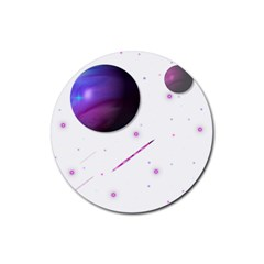 Space Transparent Purple Moon Star Rubber Coaster (Round)