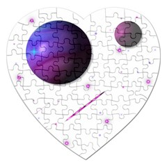 Space Transparent Purple Moon Star Jigsaw Puzzle (Heart)