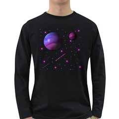 Space Transparent Purple Moon Star Long Sleeve Dark T-Shirts