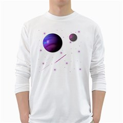 Space Transparent Purple Moon Star White Long Sleeve T-Shirts