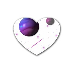 Space Transparent Purple Moon Star Rubber Coaster (Heart)