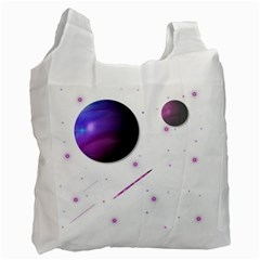 Space Transparent Purple Moon Star Recycle Bag (One Side)
