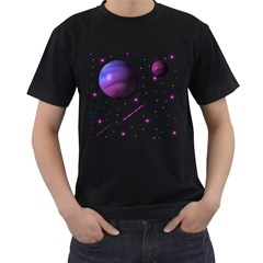 Space Transparent Purple Moon Star Men s T-Shirt (Black)
