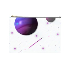 Space Transparent Purple Moon Star Cosmetic Bag (Large)