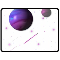 Space Transparent Purple Moon Star Fleece Blanket (Large)