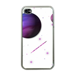 Space Transparent Purple Moon Star Apple iPhone 4 Case (Clear)