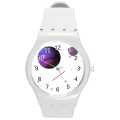 Space Transparent Purple Moon Star Round Plastic Sport Watch (M)