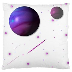 Space Transparent Purple Moon Star Large Cushion Case (Two Sides)
