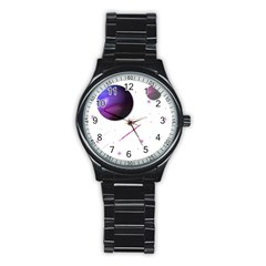 Space Transparent Purple Moon Star Stainless Steel Round Watch