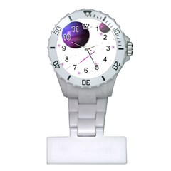 Space Transparent Purple Moon Star Plastic Nurses Watch
