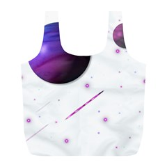 Space Transparent Purple Moon Star Full Print Recycle Bags (l)