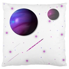 Space Transparent Purple Moon Star Standard Flano Cushion Case (One Side)