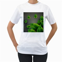 Leaf Green Grey Women s T-Shirt (White) (Two Sided)