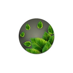 Leaf Green Grey Golf Ball Marker