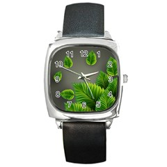 Leaf Green Grey Square Metal Watch