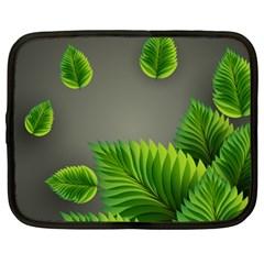 Leaf Green Grey Netbook Case (Large)