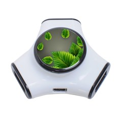 Leaf Green Grey 3-Port USB Hub