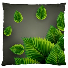 Leaf Green Grey Large Cushion Case (One Side)
