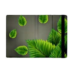 Leaf Green Grey Apple iPad Mini Flip Case