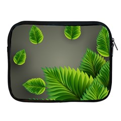 Leaf Green Grey Apple iPad 2/3/4 Zipper Cases