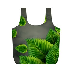 Leaf Green Grey Full Print Recycle Bags (M)