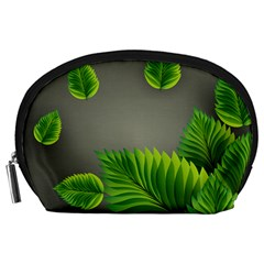 Leaf Green Grey Accessory Pouches (Large)