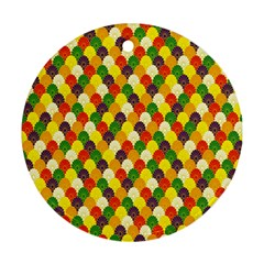 Flower Floral Sunflower Color Rainbow Yellow Purple Red Green Ornament (Round)