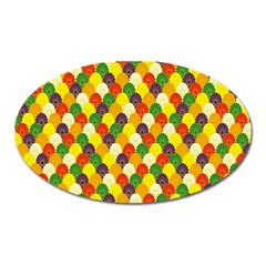 Flower Floral Sunflower Color Rainbow Yellow Purple Red Green Oval Magnet