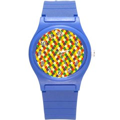 Flower Floral Sunflower Color Rainbow Yellow Purple Red Green Round Plastic Sport Watch (S)