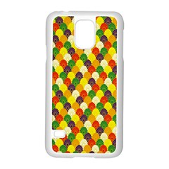 Flower Floral Sunflower Color Rainbow Yellow Purple Red Green Samsung Galaxy S5 Case (White)