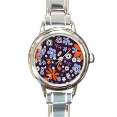 Bright Colorful Busy Large Retro Floral Flowers Pattern Wallpaper Background Round Italian Charm Watch