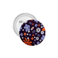 Bright Colorful Busy Large Retro Floral Flowers Pattern Wallpaper Background 1.75  Buttons